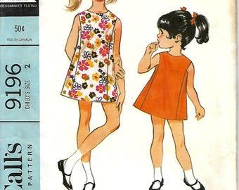 1960's McCall's 9196 Child's Sleeveless A-line Dress Pattern, Size 2, UNCUT