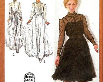 Gunne Sax Designer Couturier Dress Pattern, Simplicity 9585, Size 6, 8, 10, 12 & 14, UNCUT