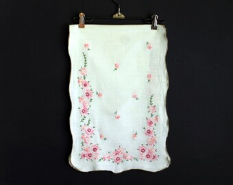 Vintage Dresser Scarf Hand Embroidered Pink Flowers Table Runner with Scalloped Edge