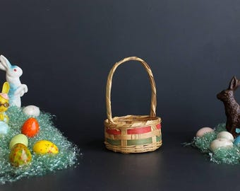 Vintage Easter Basket Round Small Wicker Pink And Green Stripe
