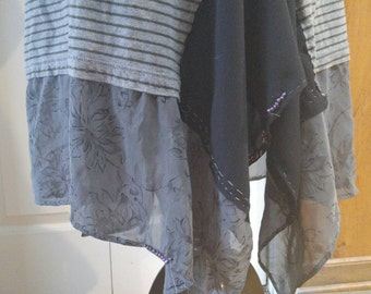 Upcycled boho top plus size with grey sheer silk xxl