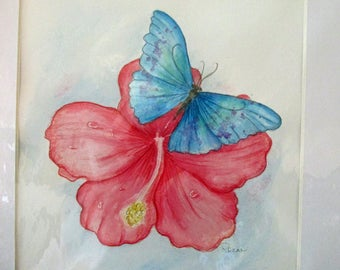 Hibiscus Morning watercolor pencil ORIGINAL butterfly painting