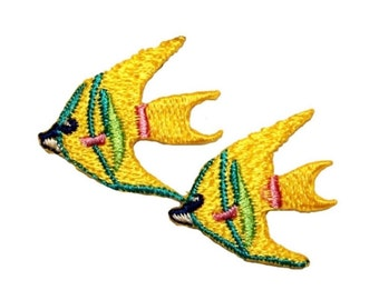 ID 0268B Angle Fish Swimming Patch Tropical Pet Emblem Iron On Applique