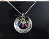 25% OFF - Personalized Concave Washer Necklace with Birthstones