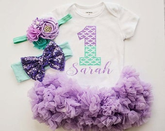 Mermaid Birthday Outfit / Personalized One Piece Bodysuit skirt..First Birthday Bodysuit /Lavender Mint Bodysuit...Cake Smash Outfit