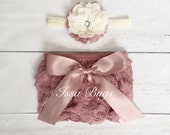 Baby Girl Lace Bloomer-dusty rose lace bloomer headband set-Pink Lace Diaper-newborn bloomer set-Baby Shower Gift-Photo Prop-mauve baby