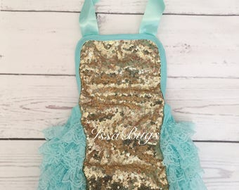 Baby girls 1st birthday outfit-baby girl clothes-baby girl romper-gold glitter 1st birthday- baby bubble romper-aqua gold cake smash outfit