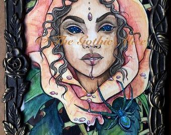 Rose Thorns Original Watercolor Painting