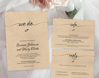We Do Wedding Invitation Template Rustic Info Reply Cards Pdf Editable Elegant Invitations Digital Download Printables Set 30013