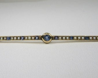 Yellow Gold Sapphire and Seed Pearl Bar Pin; Antique Bar Pin; Pearl Pin; Natural Sapphire Pin;  Gold Bar Pin; 1920's Bar Pin