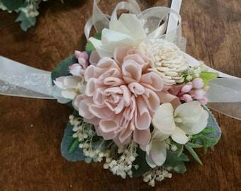 Wedding, Corsage, Sola Wood Corsage,Corsage, bridesmaids wrist Corsage, Mothers vintage corsage, Sola pink corsage, corsages