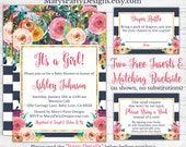 Girl Baby Shower Invitation - Watercolor Flowers Floral Pink Navy Stripes Diaper Raffle Ticket Book Request Card Personalized Printable