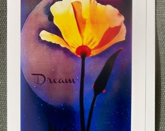 Dream Moon Poppy Inspirational Greeting Card 5x7