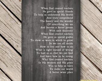 Christian TEACHER GIFT PRINTABLE Print Instant Download Poem for Teachers Appreciation God Created Teachers Word Art  Gray Wood
