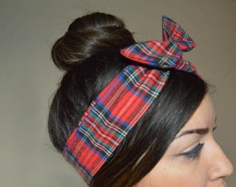 Red Plaid dolly bow headband- Dollybow Head Band A1