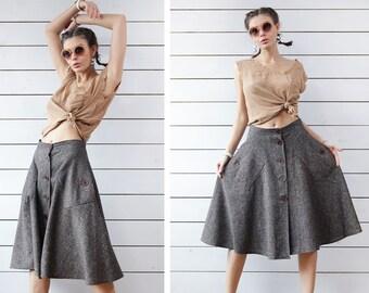 70s Vintage brown beige melange wool full circle A-line over the knee length high waist midi skirt S