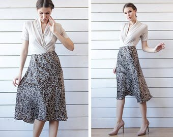 Vintage brown ivory dot print silky midi skirt dress S