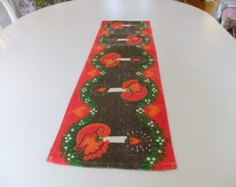 Vintage Swedish Printed Christmas table runner - Birds and candles - Signed UML Ulla Margareta Littorin