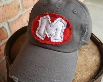 Raggy School Letter Distressed Baseball Hat