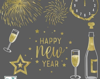 Happy New Year Digital Clipart - Scrapbooking, card design, invitations, photo booth, web design - Fireworks, clocks, stars, glass, bottle
