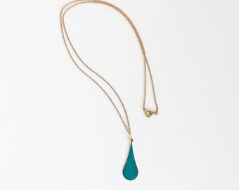 Lovely Teal Raindrop Necklace.              Reversible Simple Geometric Necklace.     Minimal Jewelry with a Charitable Donation