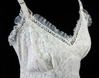 Powers Model White Lace Full Slip 38 Vintage 1960's Lingerie Nylon Nightgown or Dress