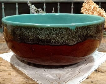 Very Large Vintage Pottery Mixing Bowl / Aqua / Turquoise / Brown Drip Ware / Bread Dough / Serving / Salad Bowl