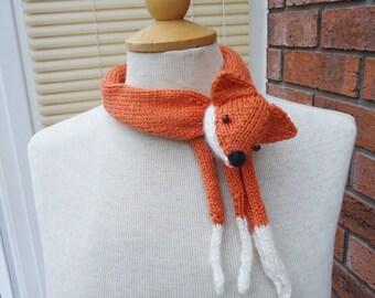 Fox Collar, Mini Fox Stole, Fox Neckwarmer, Handknitted Fox Collar, Fox Mini Scarf, Fox Collar in Orange