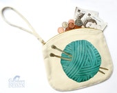 Wool Canvas Zip Purse, Makeup Bag, Coin Purse, Small Accessory Pouch