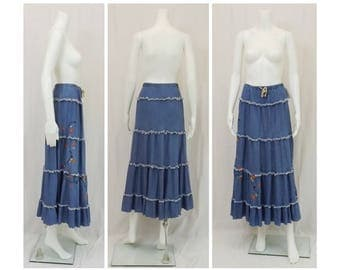 CC COUTURE Denim Tiered Ruffle Skirt Size XL