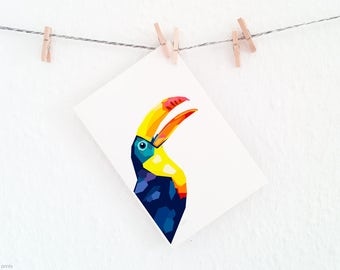 Toucan print, Geometric print, Art print, Unique wall art, Bird art, Jungle theme, Giclee print, Minimalist wall art, Modern interior decor