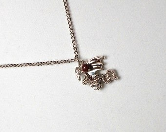 Dragon Charm Necklace with Dragons Blood Jasper Stone Dangle, Dragon Necklace, Charm Necklace