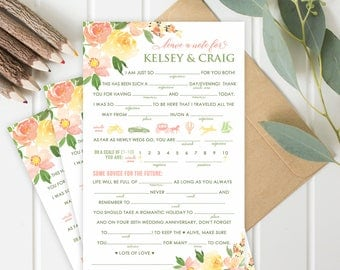 NEW!  Wedding Mad Libs Printable and Editable PDF Template | Wedding Fun and Games | Spring Colors | Instant Download | Edit and print