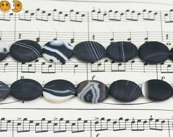 15 inch strand of Black banded agate,sardonyx agate,striped agate matte oval beads 10x14mm 13x18mm 15x20mm & 18x25mm for choose