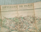 Antique Paris and surroundings map, Parisian plan, 1890, Old paper, Ephemera, photo