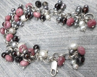 Beaded Bracelet with Silver Chain, Gray and White Pearls, Pink Rhodonite and  Red Garnet Beads, Vintage Style