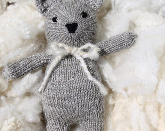 Bear, stuffed bear, organic wool, hand knitted, soft toy, eco friendly, handmade toy, plush toy