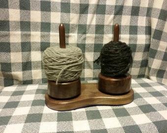 Walnut Yarn Caddy , spinning mini yarn holder set of 2 with base.