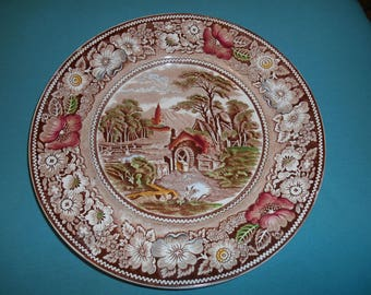 "One (1), 10"", Dinner Plate, from W.R. Midwinter, Ltd., in the Rural England, Brown Multicolor Pattern.."