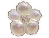 2 Hibiscus 7/8 inch ( 22 mm ) Metal Buttons White Copper