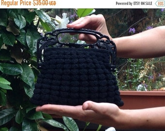 HOLIDAY SAVINGS Black Peacock Bag Vintage Crocheted Pristine