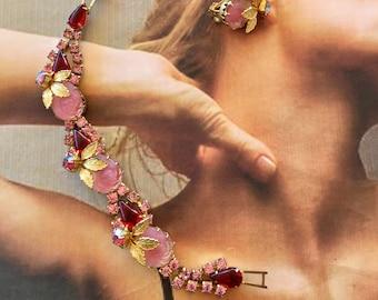 JULIANA D & E Pink Red Molded Art Glass Pearl Rose Bracelet Earrings Vintage Bridal Demi Parure