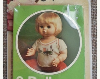 """ON SALE Vintage NIB Doll Separates 2 Doll Polo Shirts, White Cotton Ribbed Knit, Screen Print Design, Made In Hong Kong, 16""""-18"""" Doll, New O"""