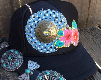 Women's Western Boho Cowgirl Embellished Trucker Hat Black with Concho