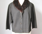 Fur Collar Cardigan / Vtg...