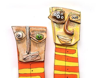 Art gift for couple, Weird art  figures, Ceramic Wall Figurines, Colorful sculptures, 3D wall art, Mixed Media Sculpture by 99heads