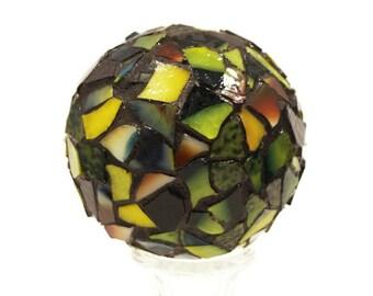 Garden Decor Globe, Mosaic Orb, Mosaic Ball, Gazing Ball, Crystal Ball, Home Decor, Romantic Decor, Yellow Glass Ball, Stained Glass Globe,