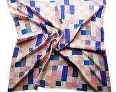 Pink, Blue and Grey Silk Scarf Geometric Pattern