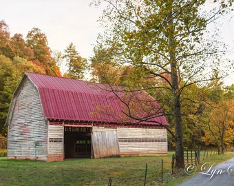 Tennessee, Barn-  Nature, landscape, fall, autumn, fine art, trees, art, Great Smoky Mountains, rustic, home decor, mountains
