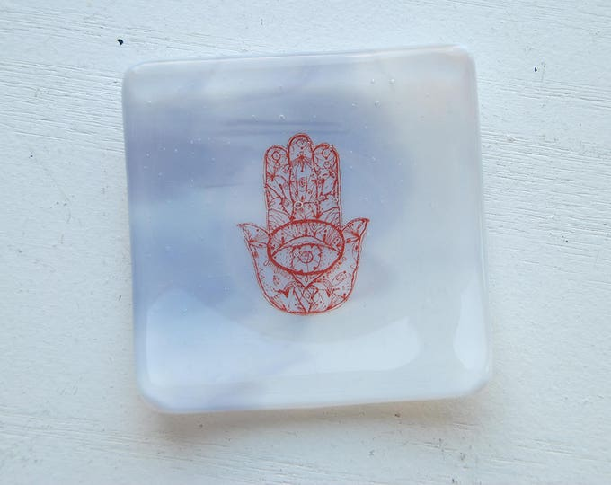 Purple Hamsa Mini Fused Glass Dish